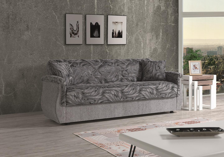 Canapé lit coffre oriental gris BUKET.1