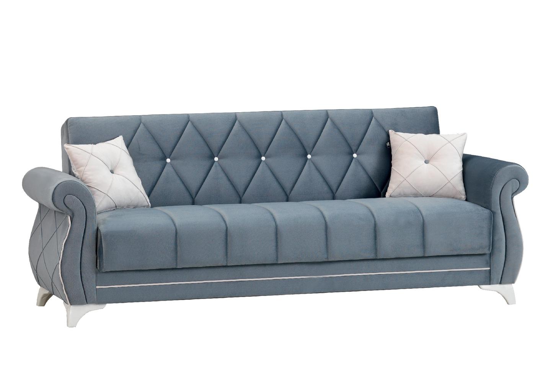 Canapé lit coffre velours gris OPÉRA-2