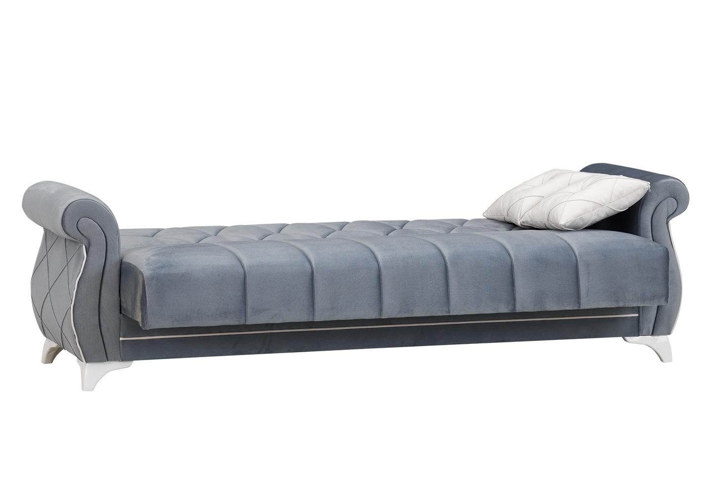 Canapé lit coffre velours gris OPÉRA-4