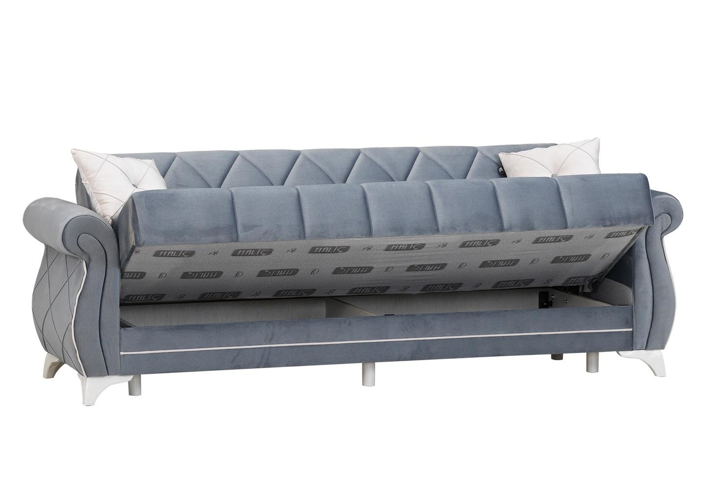 Canapé lit coffre velours gris OPÉRA-3
