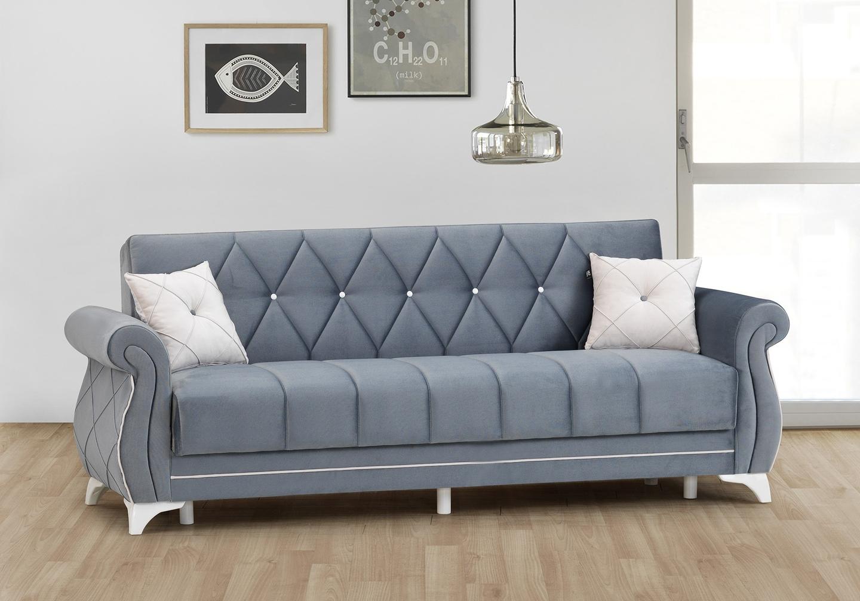 Canapé lit coffre velours gris OPÉRA-1
