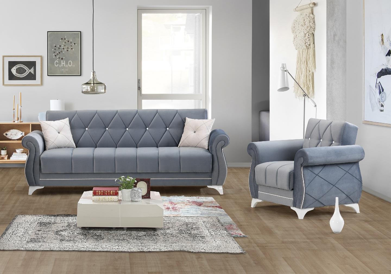 Canapé lit coffre velours gris OPÉRA-5