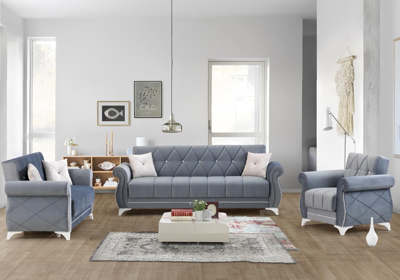 Canapé lit coffre velours gris OPÉRA