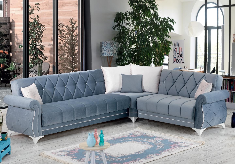 Canapé angle lit coffre velours gris OPÉRA
