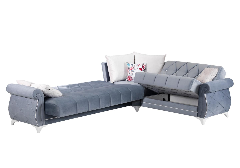 Canapé angle lit coffre velours gris OPÉRA-2