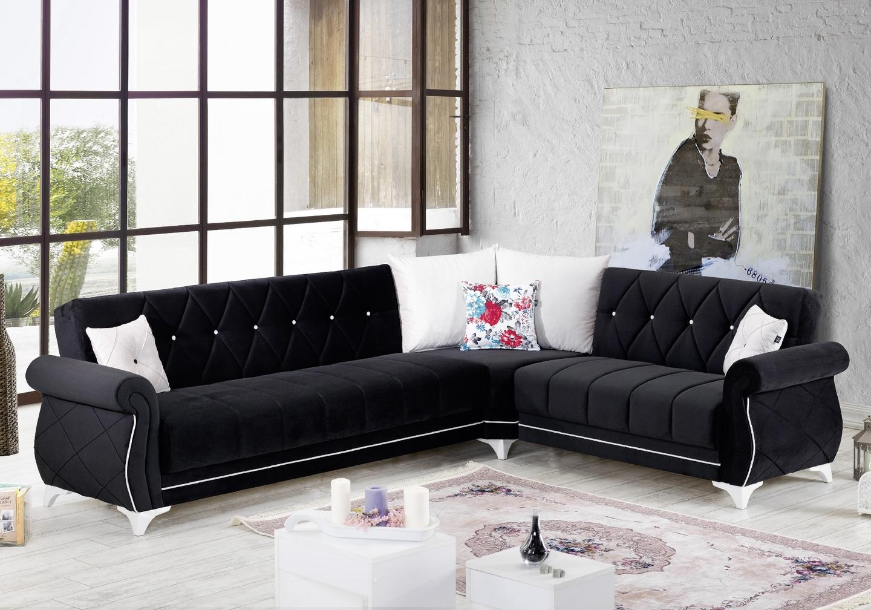 Canapé angle lit coffre velours noir OPÉRA