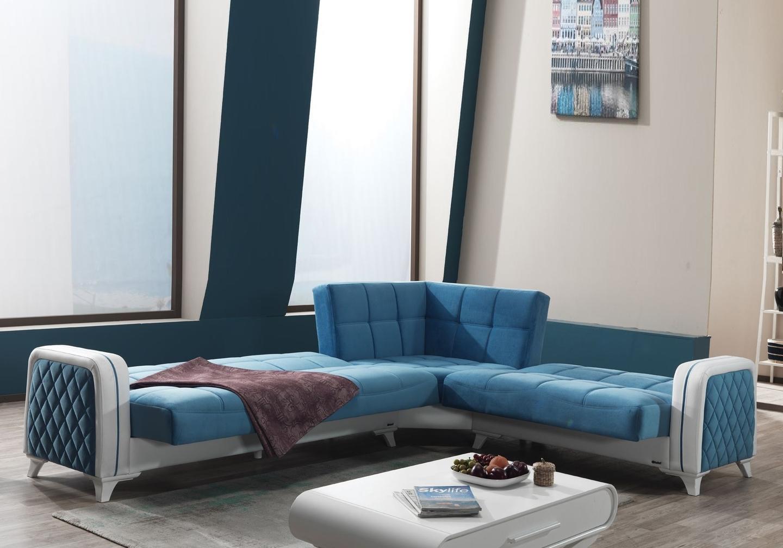 Canapé angle lit coffre velours bleu ÉLITE-3