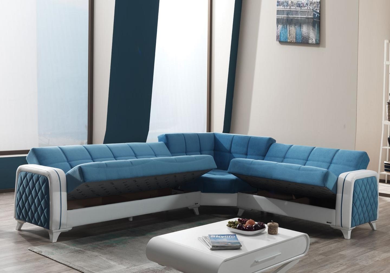 Canapé angle lit coffre velours bleu ÉLITE-2
