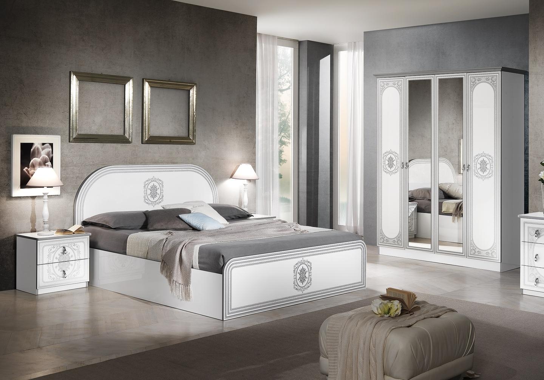Chambre complète laqué blanc argent SOFIA-1