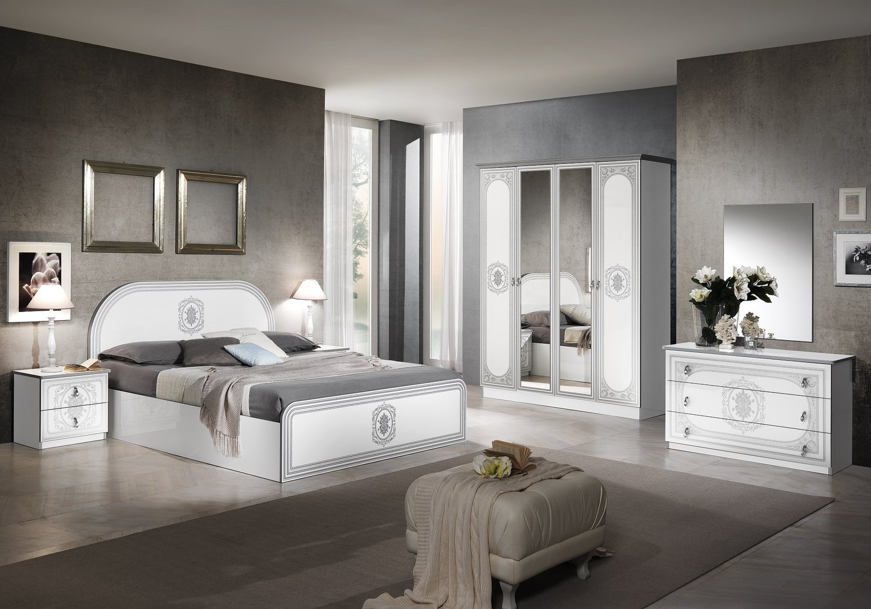 Chambre complète laqué blanc argent SOFIA