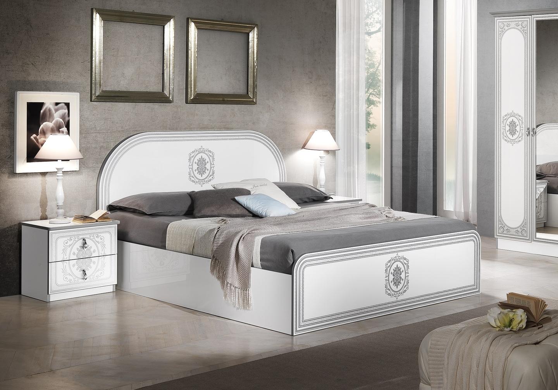 Chambre complète laqué blanc argent SOFIA-2