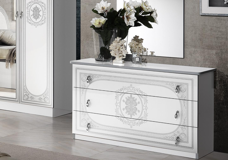 Chambre complète laqué blanc argent SOFIA-4