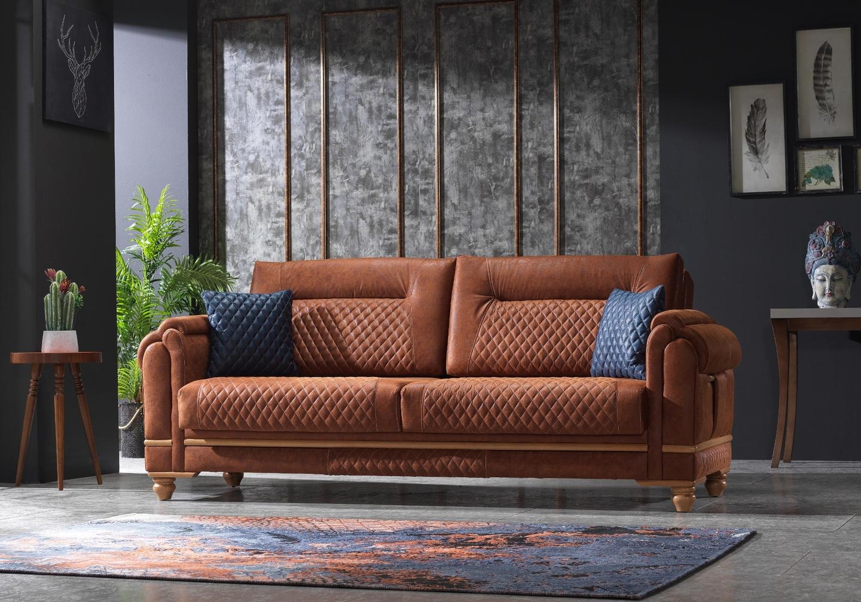 Canapé vintage tissu daim brun TWEEN-1