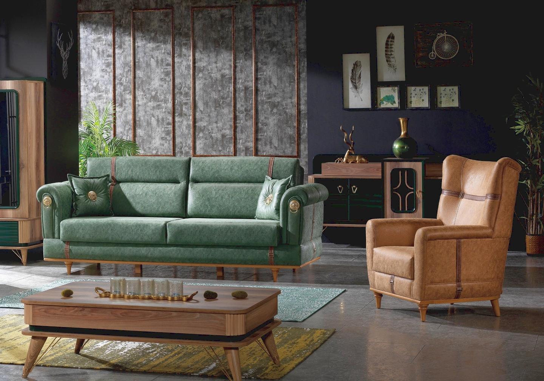 Canapé lit tissu daim vert BUGATTI