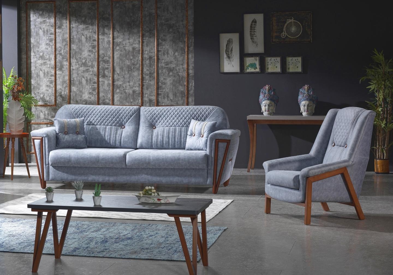 Canapé lit tissu bleu chiné ANKA