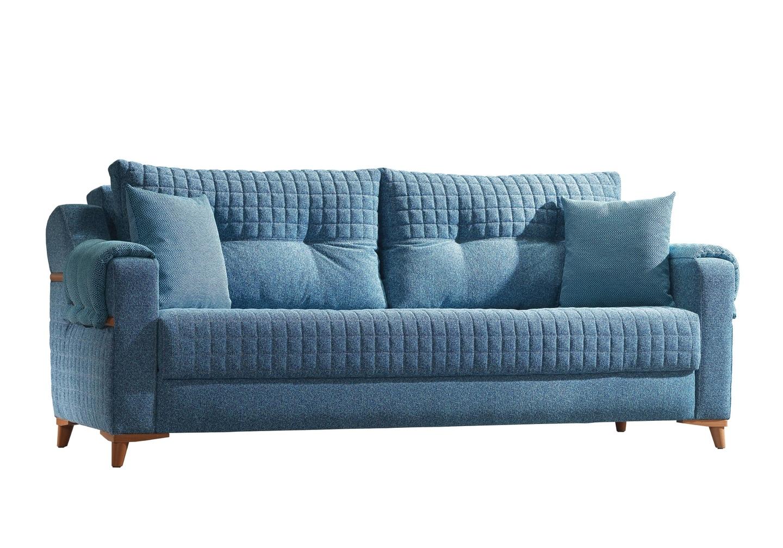 Canapé lit tissu bleu ÉROS-5