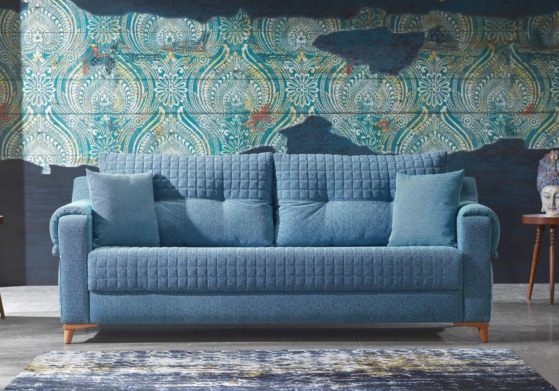 Canapé lit tissu bleu ÉROS-2
