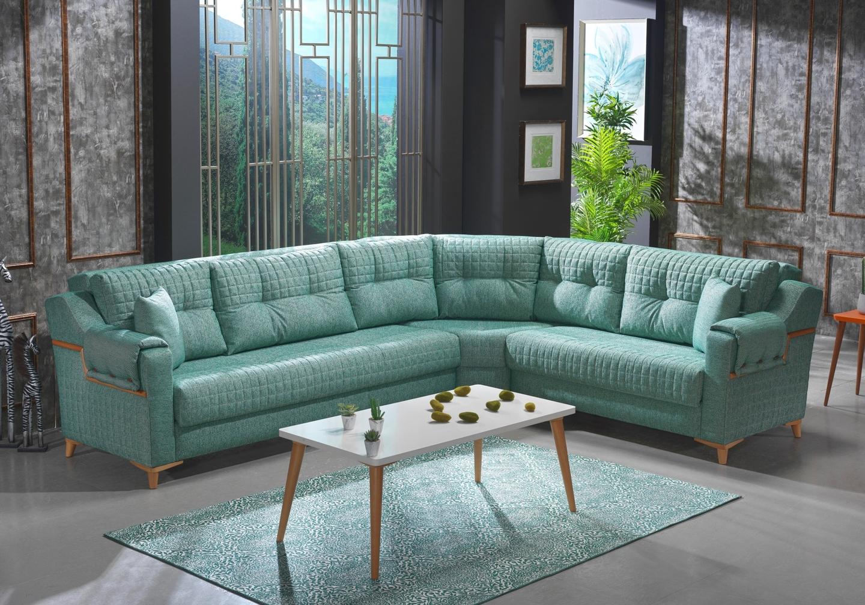 Canapé lit angle tissu vert ÉROS