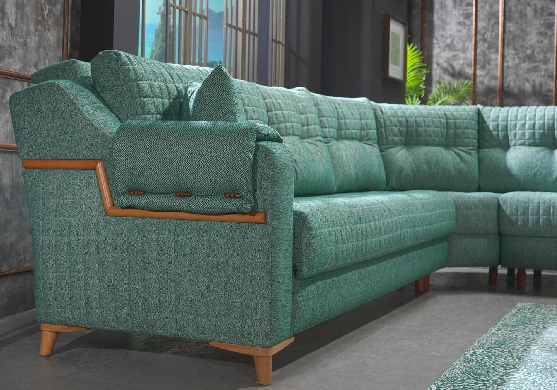 Canapé lit angle tissu vert ÉROS-1