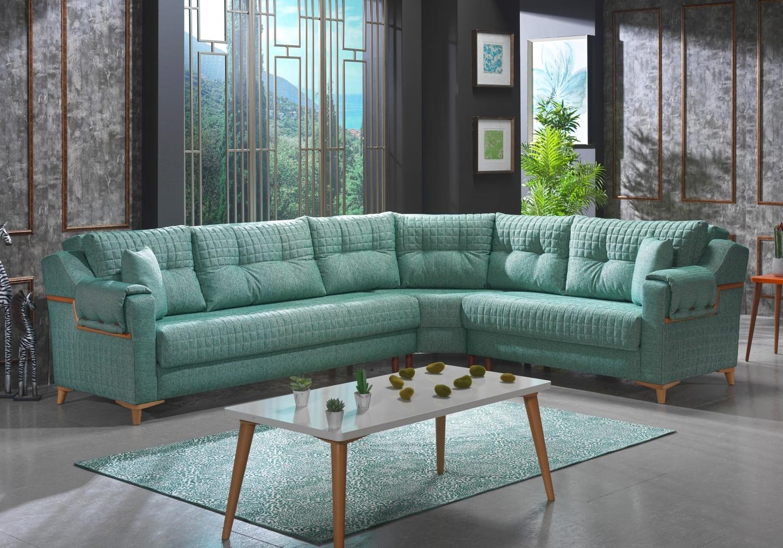 Canapé lit angle tissu vert ÉROS-3