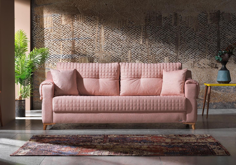 Canapé lit tissu rose ÉROS-1