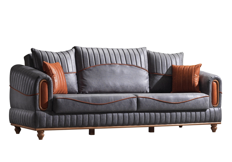 Canapé lit tissu daim gris LUGO