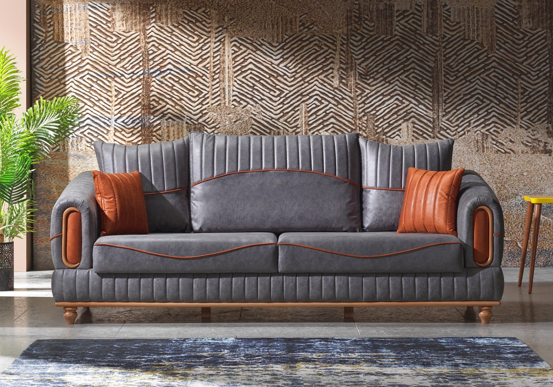 Canapé lit tissu daim gris LUGO-1