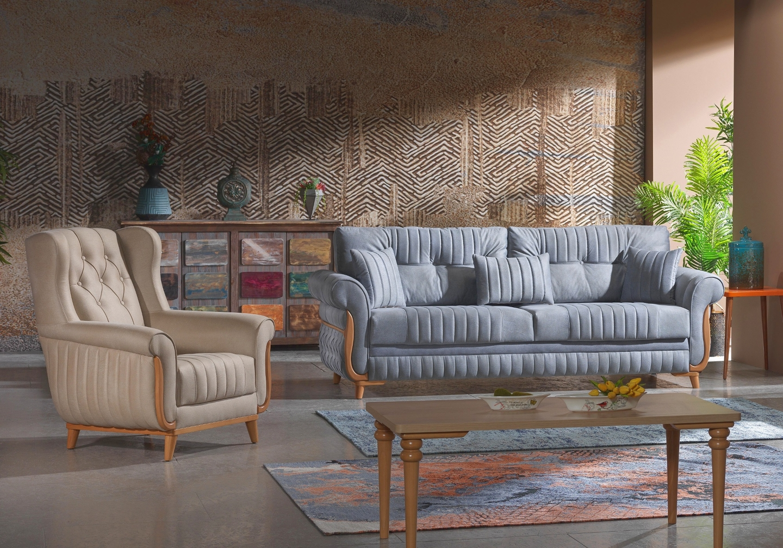 Canapé lit tissu daim gris MIRANDA