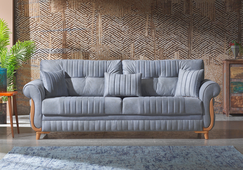 Canapé lit tissu daim gris MIRANDA-1