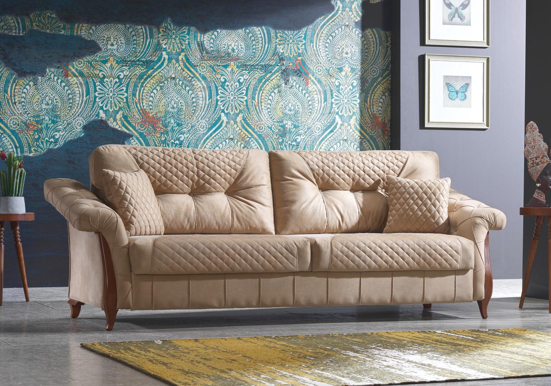 Canapé lit tissu daim beige LIKEA-3