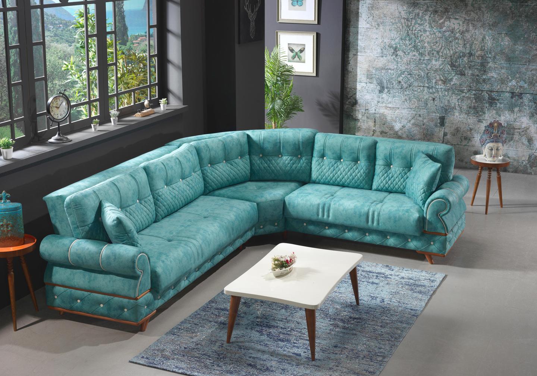 Canapé angle tissu daim turquoise PAVENA