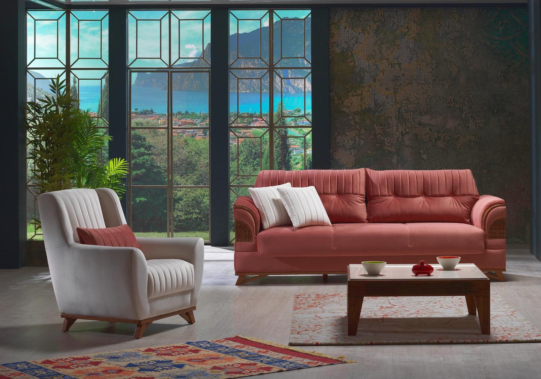 Canapé lit tissu rose PETEK