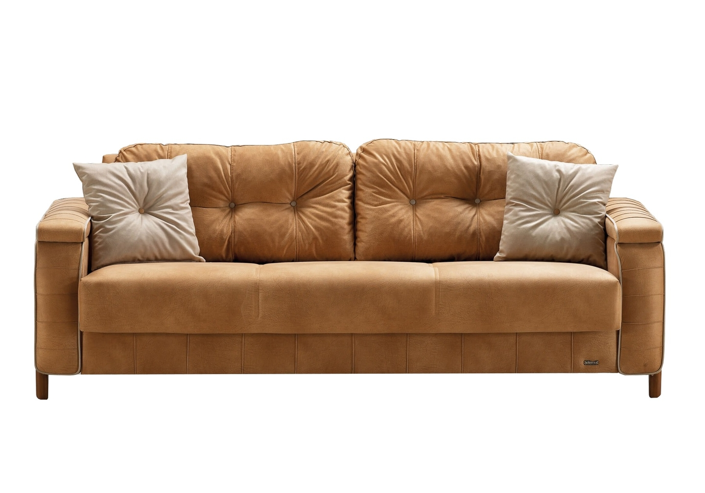 Canapé lit tissu daim ocre FLAT-2