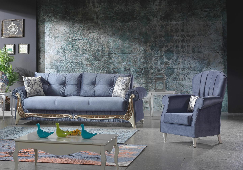 Canapé lit velours bleu PRINCESSE