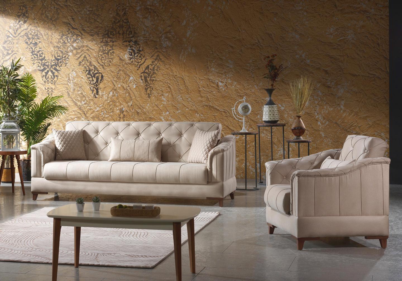 Canapé lit tissu daim beige IRONI