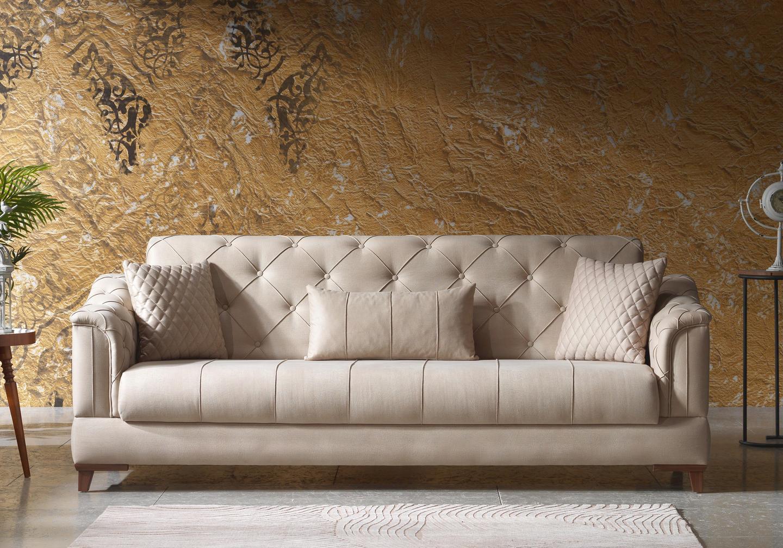 Canapé lit tissu daim beige IRONI-3