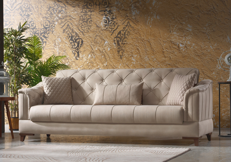 Canapé lit tissu daim beige IRONI-4