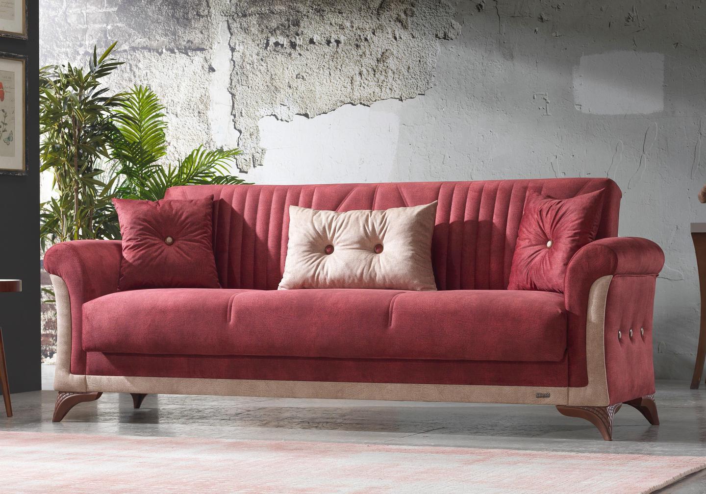 Canapé lit tissu daim rouge DECO-3