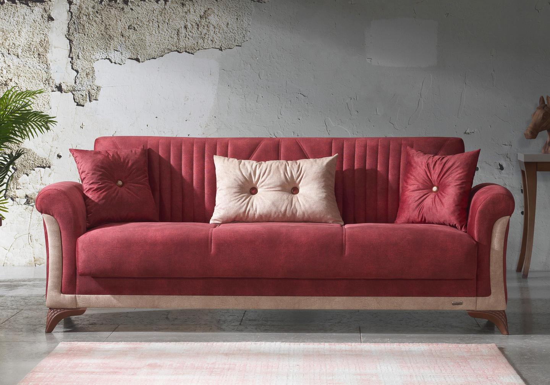 Canapé lit tissu daim rouge DECO-2