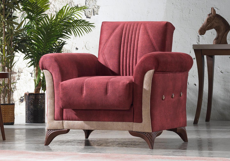 Canapé lit tissu daim rouge DECO-4