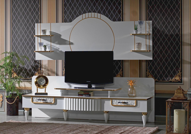 Ensemble meuble tv doré SEVILLA-1