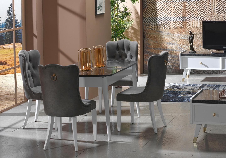 Table + chaise blanc marbré ERVA