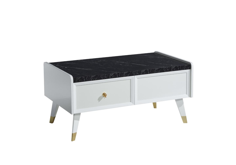 Table basse blanc marbré ERVA-1