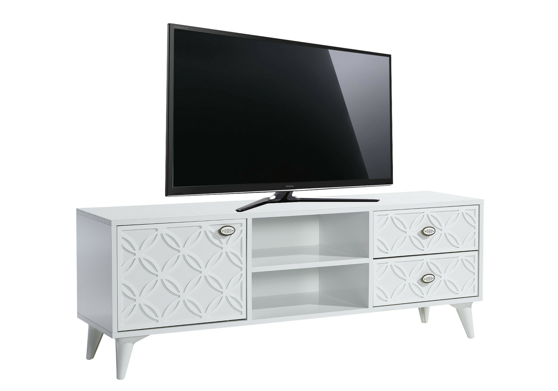 Meuble tv haut décor blanc FLIX