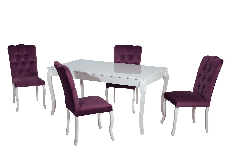 Table repas 4 chaises mauve BAROK