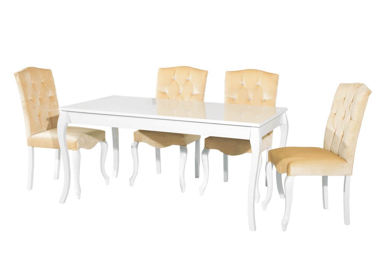 Table repas 4 chaises beige BAROK