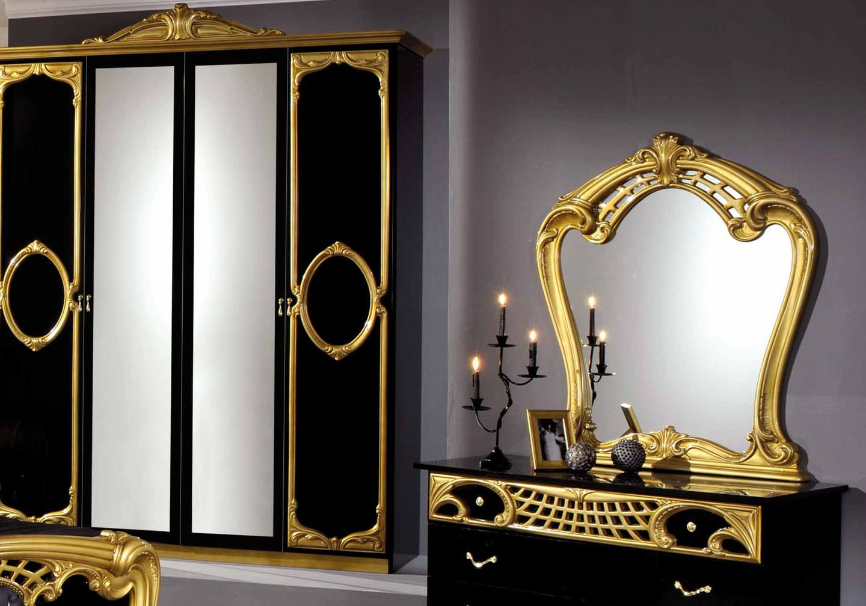 Chambre capitonné noir doré SIBILLA-3