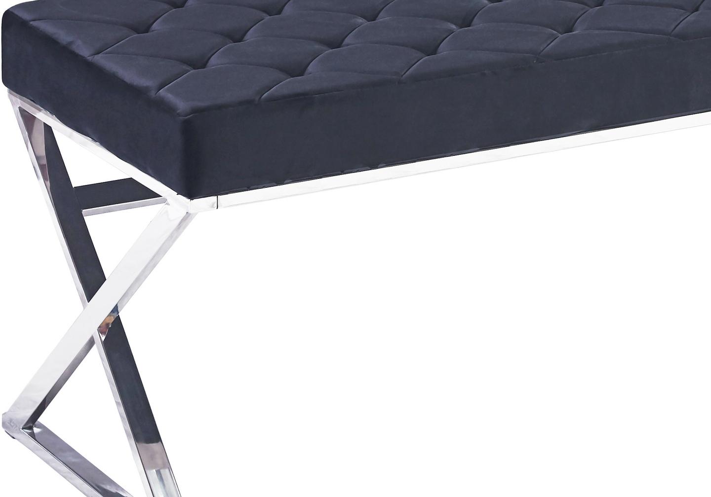 Banc design chromé velours noir OREA.1