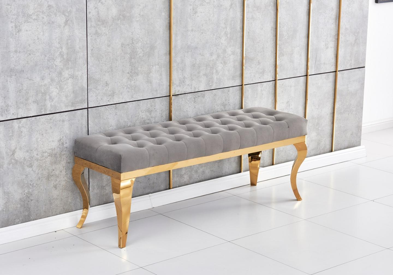 Banc design doré velours gris NEO