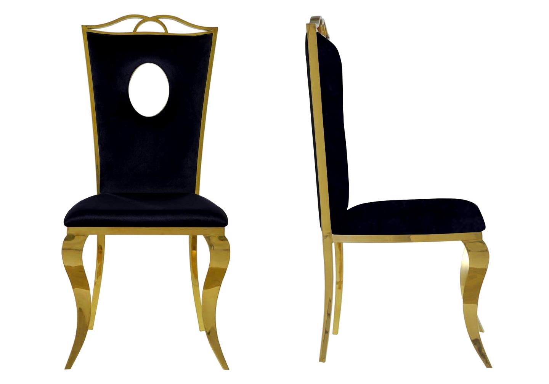 Chaises baroque doré velours noir PIA.1
